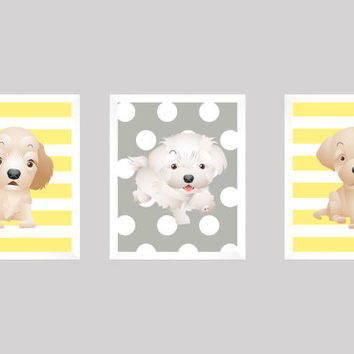 Puppies Dogs Light Yellow and Gray, CUSTOMIZE YOUR COLORS, 8x10 Prints, set of 3, Stripes, nursery decor nursery print art baby room decor