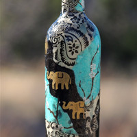 Blue Cherry Blossoms and Black Elephants Lokta Paper Decoupage on Wine Bottle, Collage on Glass Bottle, Decoupage Art