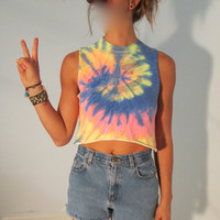 OOAK UpCycled Tie Dye Crop Tank Top XS S Muscle Tee Smiley Face Boho Hippie Gypsy Acid Club Kid Grunge Hipster Festival Wear