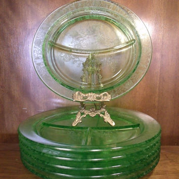 "Vintage Vaseline Green Glass Divided Dish Grill Plate 10"" Rose Flower Etched"