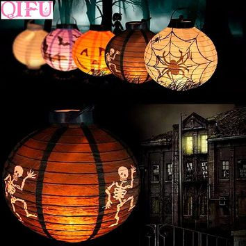 QIFU Halloween Party Horror Light Lamp LED Paper Lantern Halloween Decoration Pumpkin Ghost Spider Hanging Baby Child Skeleton