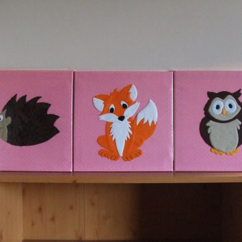 Set Of 3 Handmade Children's Felt Fabric Woodland Animal Canvas Pictures Wall Art Wall Hangings Decor