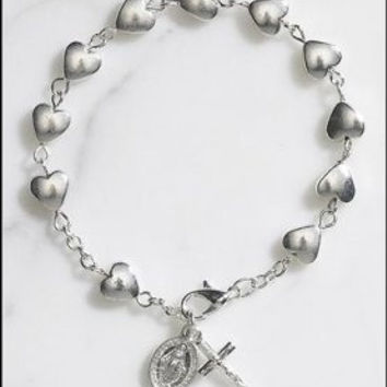 Catholic & Religious Silver Tone Heart Rosary Bracelet with St. Mary Miraculous Medal, Great for First Communion or Confirmation.
