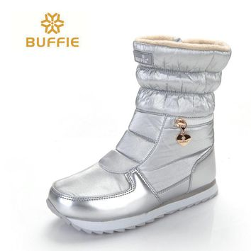 2017 New style women boots fashion silver winter boots warm snow boots Brand Buffie shining shoes solid standard boots free ship