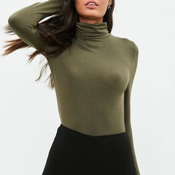 Missguided - Khaki Funnel Neck Bodysuit