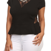 Lace Flare Top - Black - Plus Size - 1X - 2X - 3X