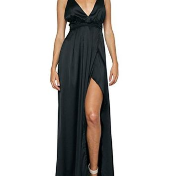 Venom Black Satin Maxi Dress