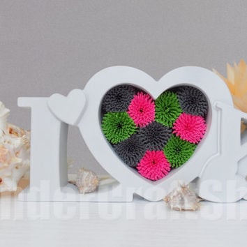 love ornament, nursery decor, paper heart, luv, heart decor, love art, symbol of love, three color heart, heart wall art, free standing