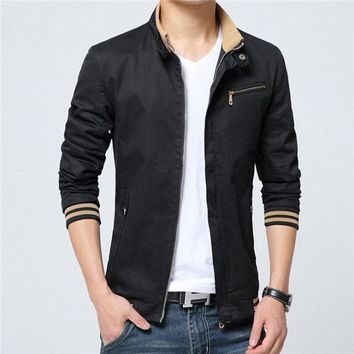 Brand Jacket Men Fashion Male Jackets Solid Stand Collar Zipper High Quality Jacket Coats Mens Jackets Windbreaker