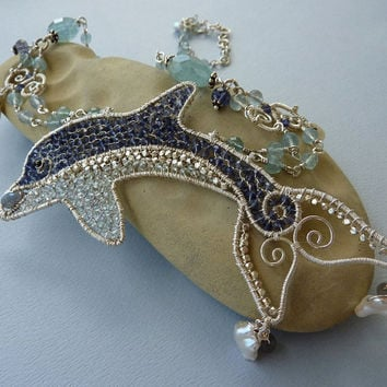 Gemstone Dolphin Necklace by pippijewelry on Etsy