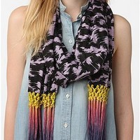 Urban Outfitters Silence + Noise Ombre Macramé Fringe Scarf Lavender Black $34
