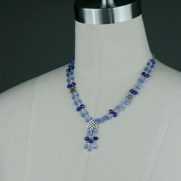 Blue Pearl lariat beaded irish knot necklace Bridesmaids gifts Free US Shipping handmade Anni Designs