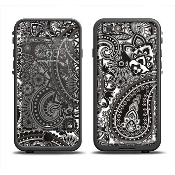 The Black & White Paisley Pattern V1 Apple iPhone 6 LifeProof Fre Case Skin Set