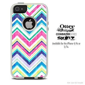 The Vibrant Pink & Blue Layered Chevron Pattern Skin For The iPhone 4-4s or 5-5s Otterbox Commuter Case