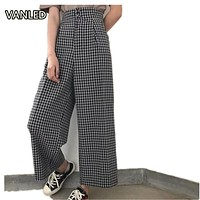 New 2017 Korean Fashion Plaid Casual Loose Women Wide Pants 416187 Un pantalon