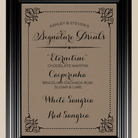 8x10 Signature Drinks Bar Vintage Rustic Wedding Sign