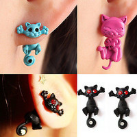 1 Pair Women 3D Cat Stud Earing Chic Cute Cat Earrings Charm Jewelry Earrings