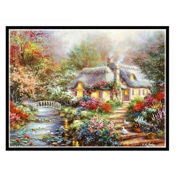 Needlework Crafts 14CT unprinted embroidery French DMC Quality Counted Cross Stitch Kits Oil painting the Garden Cottage home