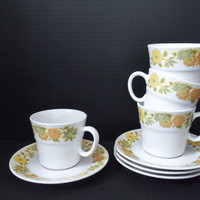 Cups and Saucers Noritake Sunny Side 9003 Set of 4 Yellow Orange