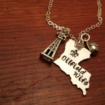 "Hand stamped Louisiana (could use another state) necklace oilfield. ""Oilfield Wife"""
