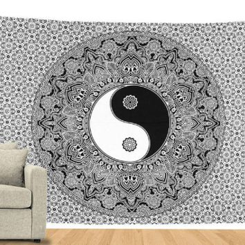 Black & White Lucky Yin and Yang Tapestry