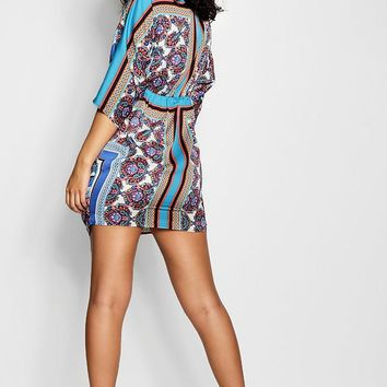 Morin Luxe Scarf Pint Knot Front Shift Dress | Boohoo