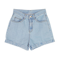 Basic Blue Denim Roll-Up Shorts