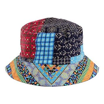 Bucket hat Various Patterns Available (Hippie Patch Multi Blue)