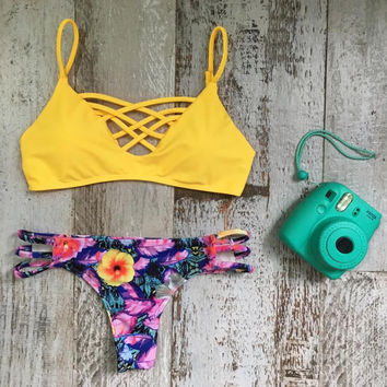 Yellow Bra Ethnic Swimwear