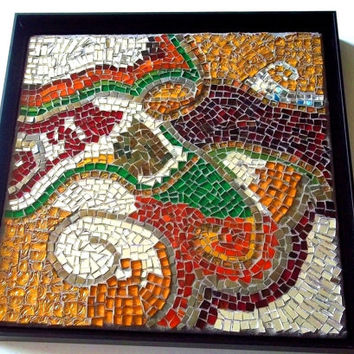 50% SALE Stained Glass Mosaic: Wall Art, Jewel Tones