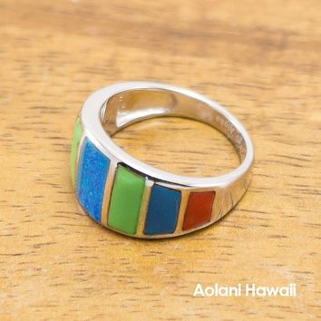 925 Sterling Silver Stone Inlay Ring