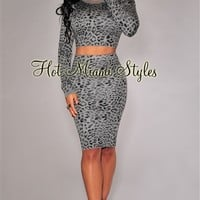 Gray Leopard Print Sweater Two Piece Set