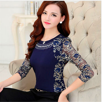 Women long sleeve Lace Tops ladies Plus size lace blouse shirt Patchwork clothing