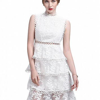 White Sleeveless High Neck Cut Out Detail Layered Sheer Lace Dress