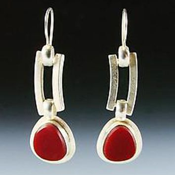 Duplice Red Stained Glass and Silver Earrings