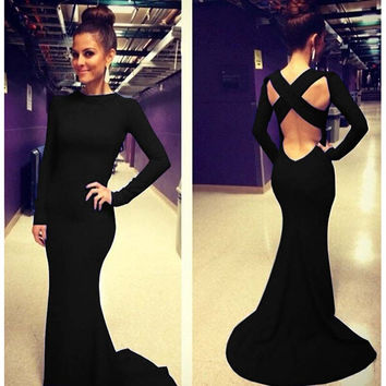 Black Long Sleeve Hollow Out High Waist Backless Bodycon Fishtail Maxi Dress