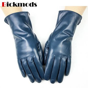 The new women's leather sheepskin gloves A variety of colors straight style wool lining spring and autumn warm mittens