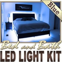 Biltek® 3.3' ft Blue Bedroom Dresser Headboard LED Lighting Strip + Dimmer + Remote + Wall Plug 110V - Headboard Closet Make Up Counter Mirror LED Strip Lamp Waterproof 3528 SMD Flexible DIY 110V-220V
