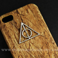 Deathly Hallows, Iphone 5 Case, PU Leather brown wood Hard Case, harry potter Case for Iphone 5
