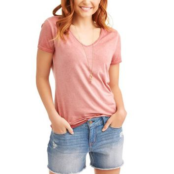 Women's Elevated Short Sleeve V-Neck T-Shirt - Walmart.com