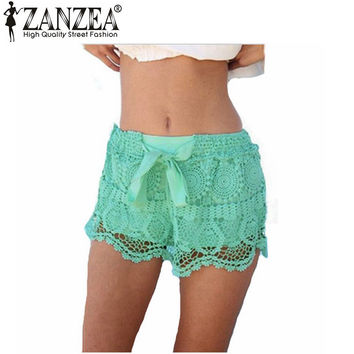 Zanzea 2017 New Arrival Summer Style Shorts For Womens Casual Lace Hollow Out Solid Sweat Shorts Elastic Waist Plus Size S-XXL