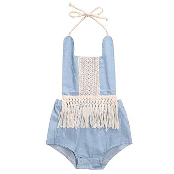 Cute Newborn Baby Girls tassel Jeans Clothes 2017 Summer Sleeveless backless Romper Jumpsuit Outfit Sunsuit One-Pieces