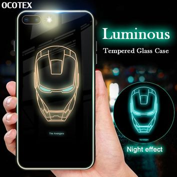 Luminous Avengers Series Case For iPhone XS Max XR X Superman Iron Man Spiderman Glass Cover For iPhone 6 6s 7 8 Plus Soft Frame