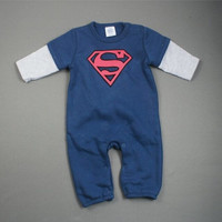 Superman long sleeve velvet leotard cotton baby clothes Romper climb = 1945879684