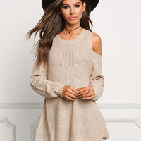 Taupe Chunky Knit Cold Shoulder Sweater Top