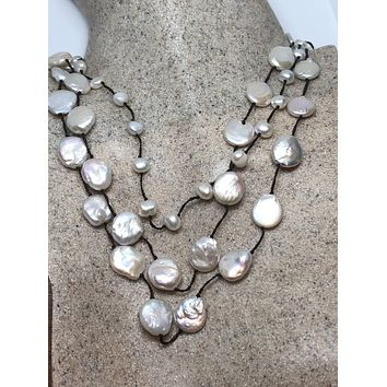 Nemesis hand wrapped pearl and crystal necklace
