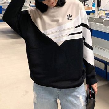 """""""Adidas"""" Unisex Multicolour Personality All-match Stripe Fashion Letter LogoLong Sleeve Sweater Tops"""