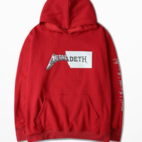 Ulzzang Korean Guochao Funny Hoodies Hip Hop Rock Punk Hoodies Funny Lovers Couple Cotton Tracksuit Man Palace Hoodie Netal Deth