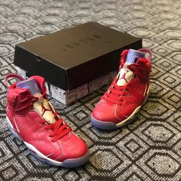 "Air Jordan 6 Custom ""Slam Dunk"" Men Basketball Shoes Sneaker"