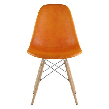 Mid Century Dowel Side Chair Burnt Orange
